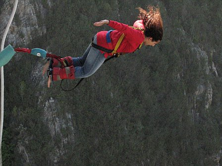 Please note- this is not the ideal form for bungee jumping, but tends to happen when you're pushed on the count of 3.